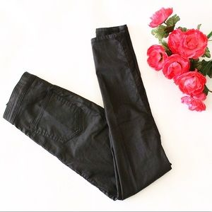 TopShop moto coated joni black pants